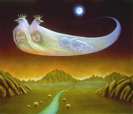 Фото По небу летит белая птица с двумя головами в коронах, олицетворяющая семью. отца. мать и ребенка, художник Jim Harter