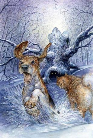 Фото Испугавшийся горящих глаз в дупле дерева пес, во всю прыть мчится раccекая снег, вслед ему с удивлением смотрит рыжий пес, the Art of Omar Rayyan