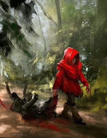 Фото Девочка Красная Шапочка тянет по лесной дороге поверженного ею серого волка