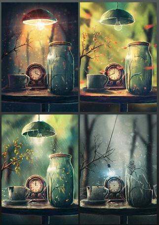 Фото Банка, часы, чашка и лампа в разные времена года