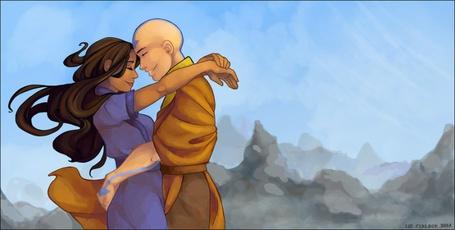 Фото Катара / Katara и Аанг / Aang герои из мультсериала Avatar: The Legend of Aang / Аватар: Легенда об Аанге