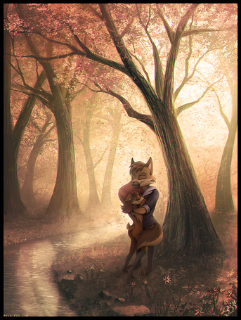 Фото Обнимающиеся лисы в лесу у реки
