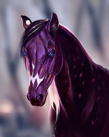 Фото Фиолетовая лошадь с голубыми глазами