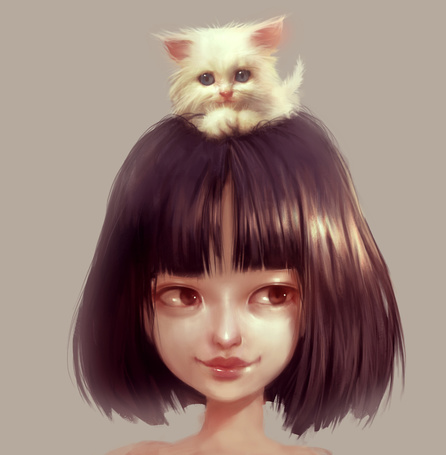 Фото Девушка с белым котенком на голове