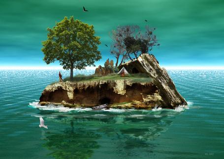 Фото Мужчина и женщина, отдыхающие на скалистом острове посреди моря с изумрудной водой, порхающими в воздухе морскими чайками, с растущими на острове деревьями, стоящей палаткой с горящим рядом с ней костром, мужчина, сидя на скале играет на гитаре, женщина устремила свой взгляд в морскую даль, автор robhas1Ieft
