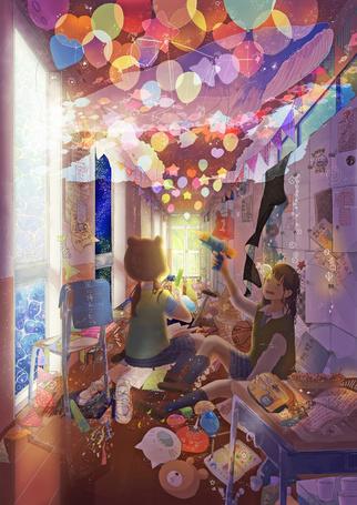 Фото Две девочки в комнате среди игрушек