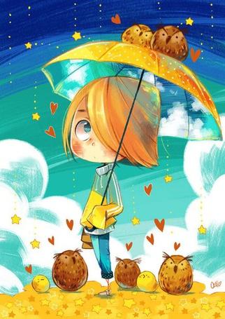 Фото Мальчик с желтым зонтом, на котором сидят две совы