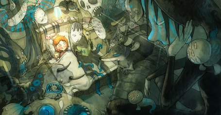 Фото Девочка лежит в кровати, вокруг нее монстры, один из них читает ей книгу