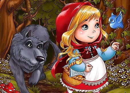 Фото Красная Шапочка идет в сопровождении Серого Волк по лесу, с корзинкой пирожков для бабушки, к ней подлетела синяя птичка