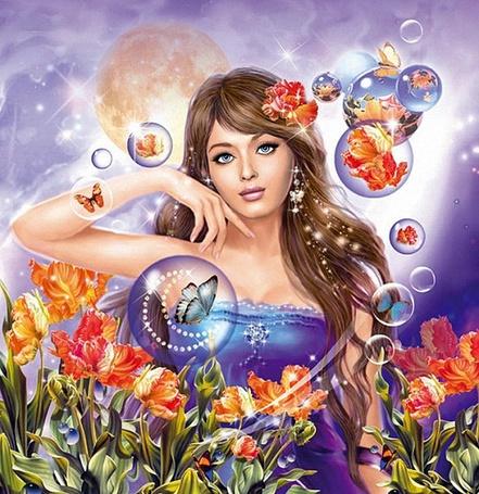 Фото Девушка Весна в окружении цветов и прозрачных шариков, в которых находятся бабочки и цветы