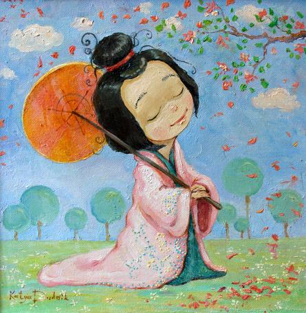 Фото Девочка восточной наружности в национальной одежде стоит с закрытыми глазами, под веткой цветущей сакуры и держит над собой раскрытый зонтик, художница Екатерина Дудник