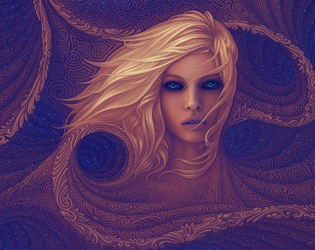 Фото Девушка блондинка с голубыми глазами на абстрактном фоне