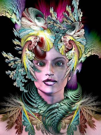 Фото Девушка с зелеными глазами, с абстрактными украшениями на голове и шее