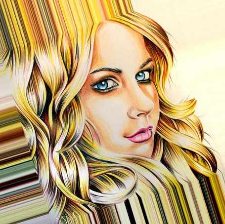 Фото Карандашный рисунок девушки блондинки с голубыми глазами