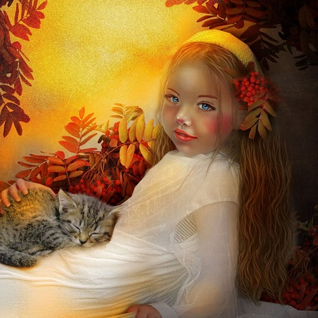 Фото Девочка с румянцем на щеках, с голубыми глазами, с гроздью красной рябины в волосах, держит на руках спящую серую кошку
