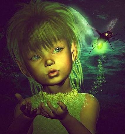 Фото Девочка держит в ладошках золотую волшебную пыльцу, оставленную улетающим насекомым