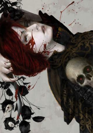 Фото Окровавленная девушка держит в руке нож