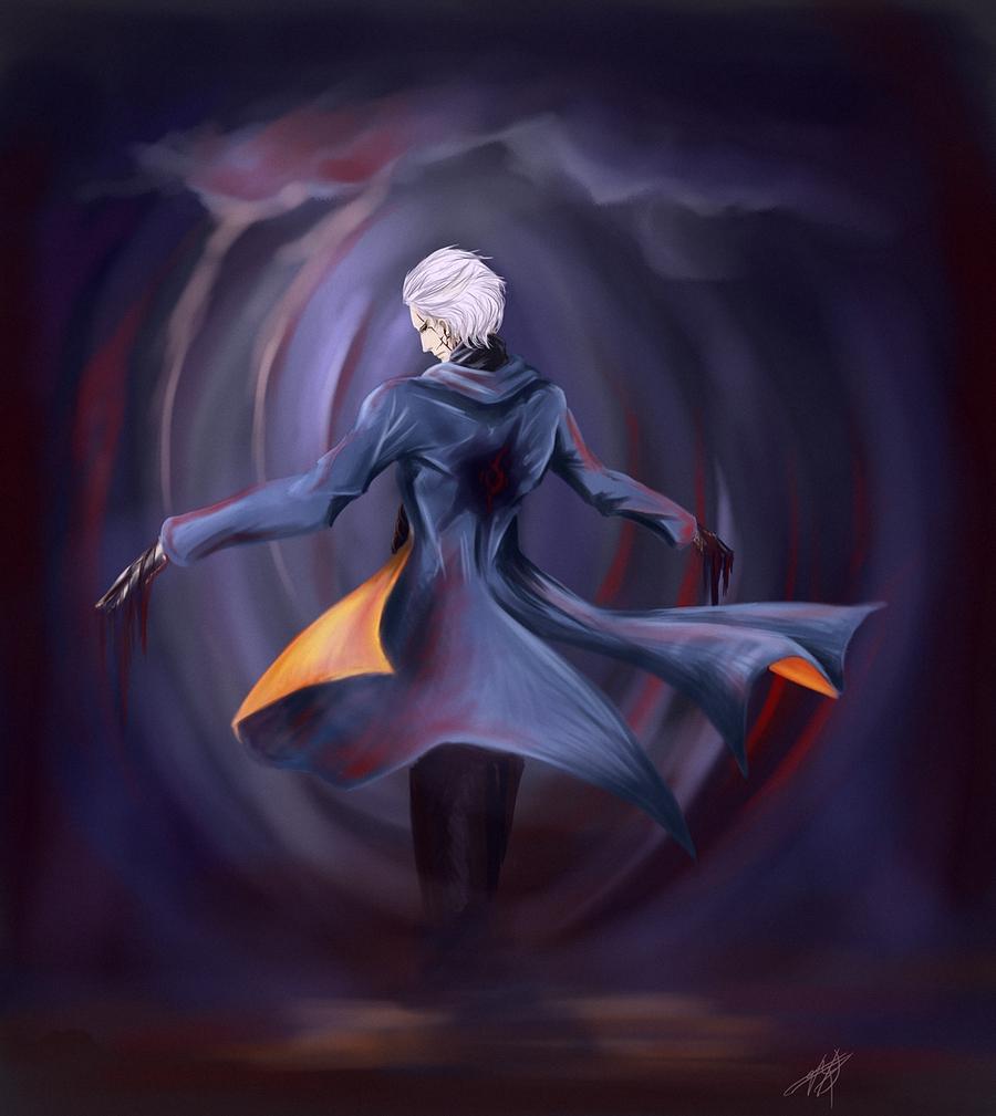 Фото Мужчина с белыми волосами, в сюртуке с развевающимися фалдами стоит с раной на спине, с расставленными в сторону руками, с которых стекает кровь