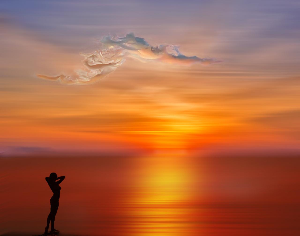 Силуэт девушки на фоне заката, фотограф atit