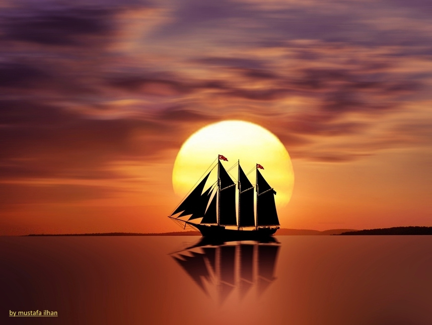 Корабль на восходе солнца картинки
