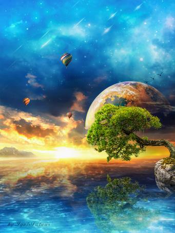 Фото Дерево с зеленой, лиственной кроной, растущее на скалистом берегу моря на фоне заката солнца на вечернем небосклоне с разноцветными облаками, восходящей планеты Солнечной системы, парящих в воздухе разноцветных, воздушных шаров, автор Ighis Fatuusll