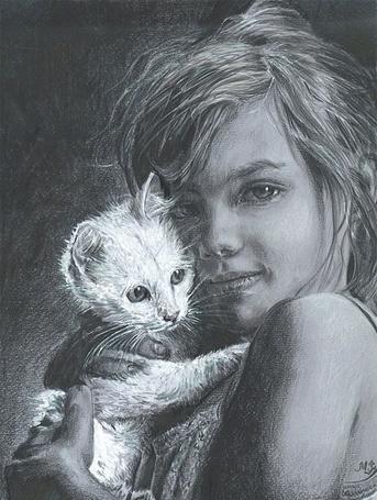 Фото Девочка с белым котенком