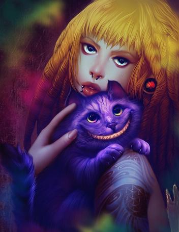 Картинки алиса в стране чудес чеширский кот и алиса