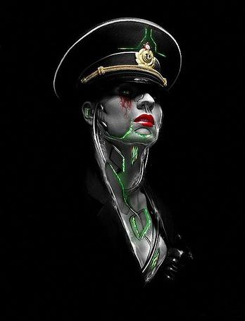 Фото Девушка зомби в военно-морской фуражке, с ярко накрашенными губами, абстрактными зелеными линиями на лице и шее, текущей кровью с глаз