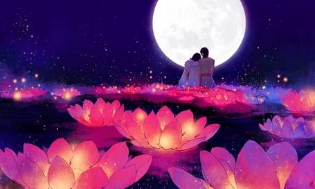Фото Парень и девушка сидят в обнимку на цветке лотоса, на фоне полной луны