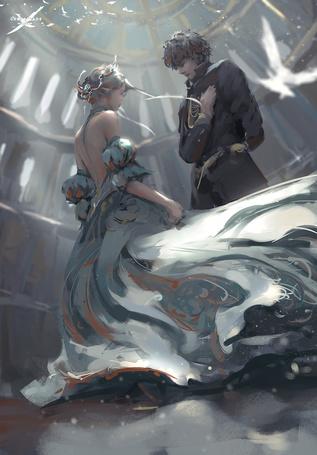 Фото Девушка-эльф и парень стоят напротив друг друга, art by wlop