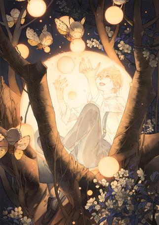 Фото Сидящий на дереве парень и маленькие феи - мотыльки вокруг него