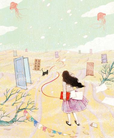 Фото Девушка с книгой идет за красной лентой, впереди идет черная кошка и видны двери, в небе парят медузы