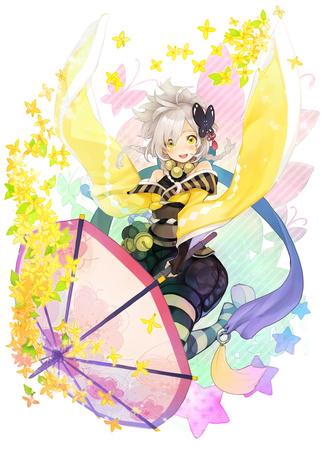 Фото Девушка с ярким зонтом на фоне желтых цветов и бабочек, художник Cocorip