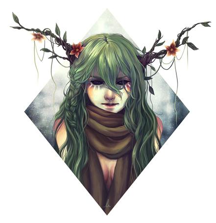 Фото У девушки из головы растут цветущие ветки