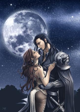 Фото Влюбленная пара на фоне звездного неба и полной луны