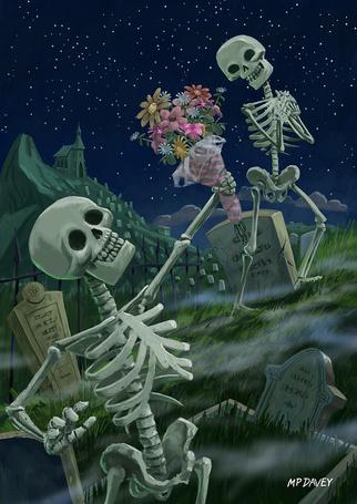 Фото Скелет мужчина на ночном кладбище, дарит букет цветов женщине скелету, MP DAVEY
