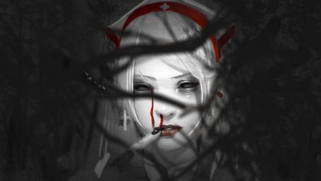 Фото Девушка с кровью на лице