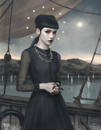 Фото Девушка в черном платье на корабле