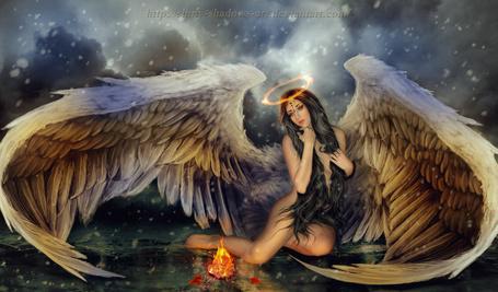 Фото Девушка - ангел с огненным ореолом над головой, by shiny-shadows-Art