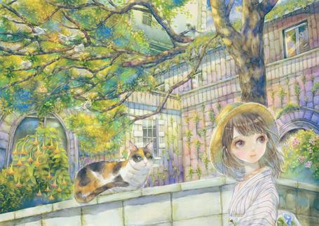 Фото Девушка в шляпке и кошка, сидящая на каменной ограде