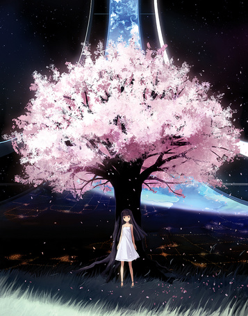 Фото Девушка стоит под цветущей сакурой, на фоне дороги, уходящей в небо, art by bail