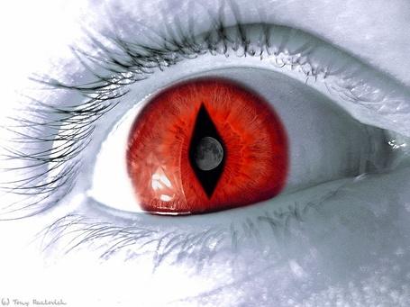 Фото Красный зрачок глаза с отражением планеты в середине
