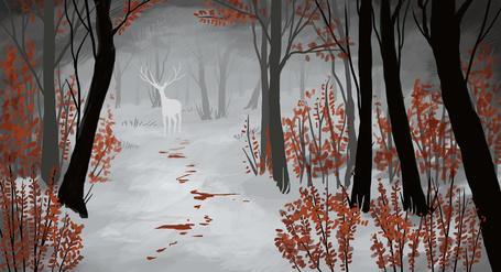 Фото Силуэт оленя в лесу