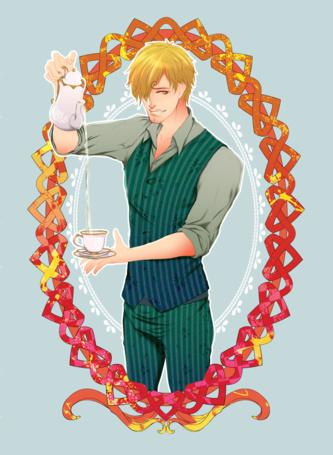 Фото Санджи / Sanji из аниме Ван Пис / One piece / Большой куш наливает воду в чашку из графина