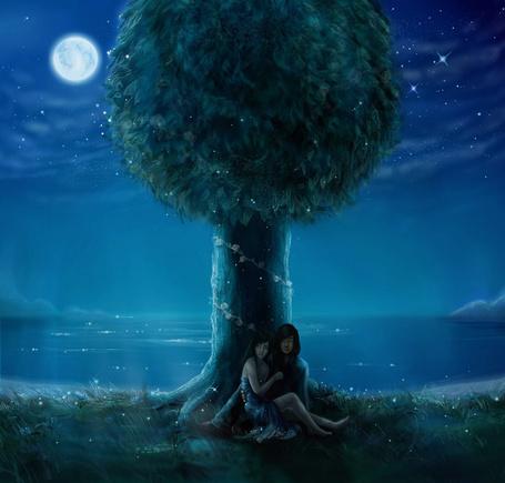 Фото Парень с девушкой сидят под деревом, by Waleria