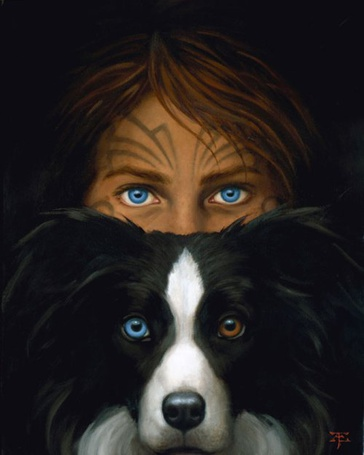 Фото Голубоглазая девушка и черно-белая собака с разноцветными глазами, художник Тристан Элвелл