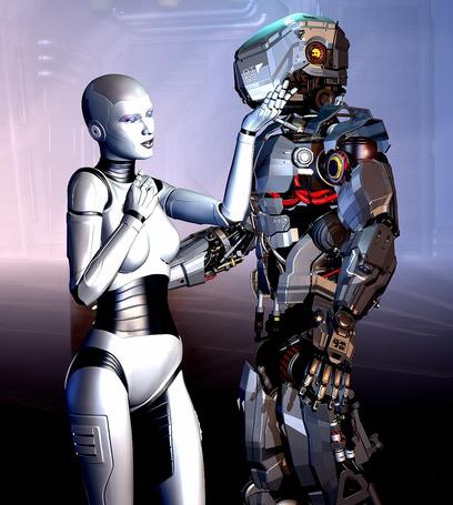 Фото Девушка андроид стоит возле робота мужчины