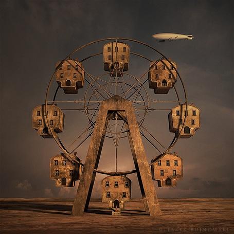 Фото Дома в виде большого колеса обозрения, с висящим в небе дирижаблем и выходящим из дома человеком, LESZEK BUINOWSKI