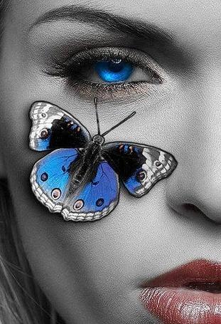 Фото Девушка с синими глазами и синей бабочкой, сидящей на щеке