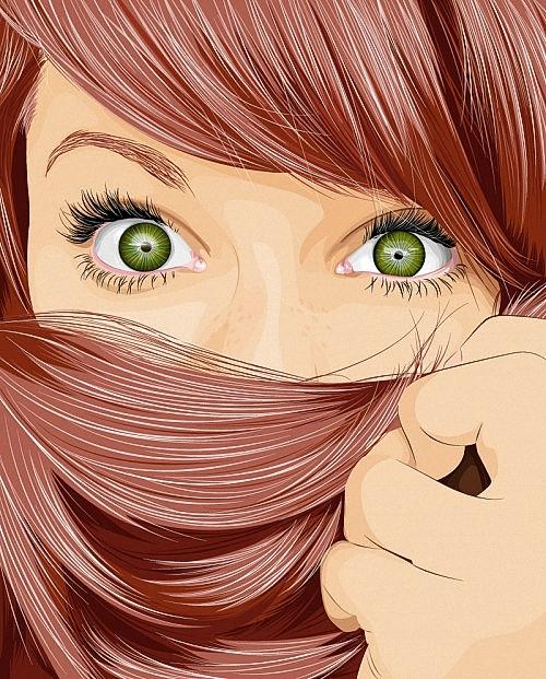 На рисунке волосы зеленые глаза
